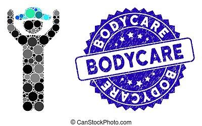 bodycare, nood, op, pictogram, handen, postzegel, mozaïek,...