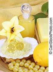 Sea bath salt and yellow accessories - body care