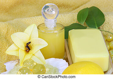 Bodycare - Sea bath salt and yellow accessories - body care...