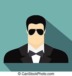 Bodyguard agent man flat icon on a blue background