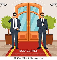 Bodyguard At Doors Illustration