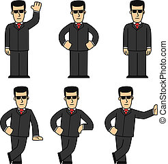 set of cartoon bodyguard in different poses