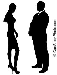 Couple of beauty women and man in suit