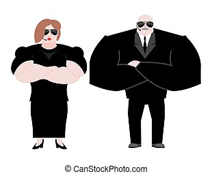 Bodyguard Marrieds family. husband and wife in Black suit and hands-free. Security newlyweds. spouses Protection and professional teamwork. couple Strong guard at nightclub.
