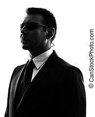 bodyguard, silhuet, tjeneste, agent, hemmelighed, mand...