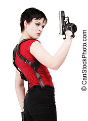 Bodyguard - Young dark-haired girl in leather gloves with...