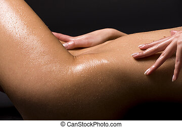 bodyscape - classical closeup picture of laying naked woman