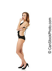 bodysuit., excitado, mulher