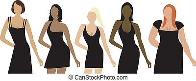 bodytypes2 - Five women of different shapes, sizes and...