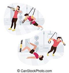 bodyweight, gente, exercises., trabajando, workout., trx,...