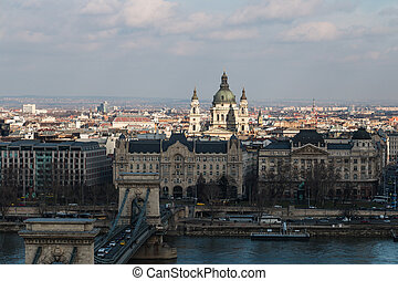 boedapest, donau, pest, cityscape, rivier, bovenkant