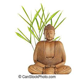boeddha, en, bamboe, gras