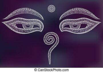 boeddha, eyes, symbool, wijsheid
