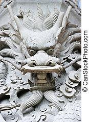 boeddha, hoofd, draak, snijwerk, groot, hong kong