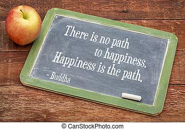 boeddha, noteren, op, geluk