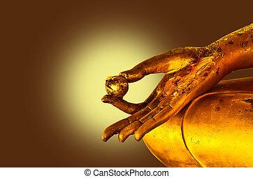 boeddha, standbeeld, handen