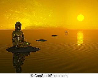 boeddha, voor, sunset.