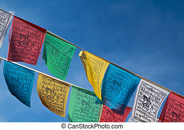 boeddhist, vlaggen, gebed