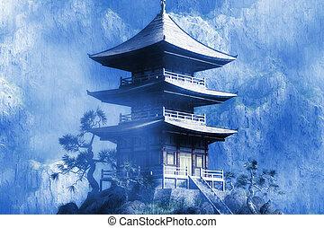 boeddhist, zen, tempel, op, nevelig, nacht