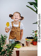 boeiend, lachen, zes, breken, oud, jaar, vrolijk, meisje, terwijl, replanting