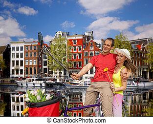 boeiend, paar, selfie, holland, amsterdam