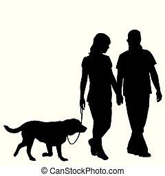 boeiend, paar, silhouette, achtervolg wandeling