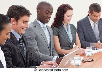 boeiend, vergadering, opmerkingen, zakenlui