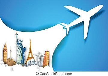 boeiend, vliegtuig, reizen, achtergrond