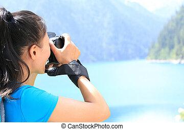 boeiend, vrouw, photographe, foto