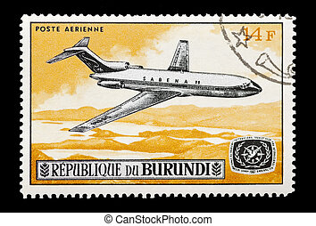 mail stamp printed in Burundi featuring a Boeing 727 jet airliner