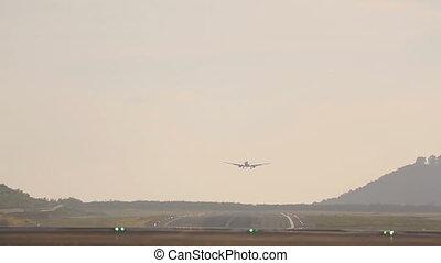 Boeing 737 landing early morning in Phuket