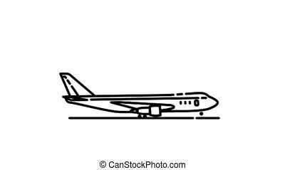 Boeing 747-100 line icon is one of the Aircraft icon set. File contains alpha channel. From 2 to 6 seconds - loop.
