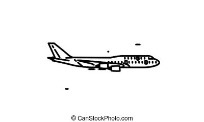 Boeing 747-400 line icon is one of the Aircraft icon set. File contains alpha channel. From 2 to 6 seconds - loop.