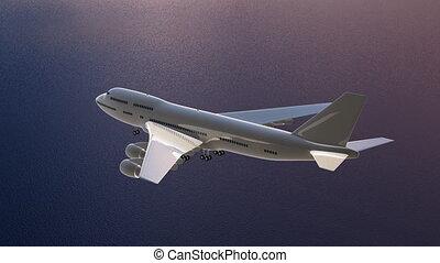 Flying plane over the ocean