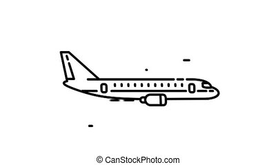 Boeing 767 line icon is one of the Aircraft icon set. File contains alpha channel. From 2 to 6 seconds - loop.
