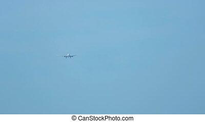 Boeing 777 approaching at Phuket airport