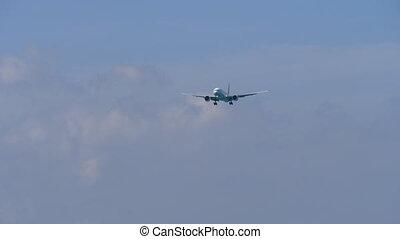 PHUKET, THAILAND - NOVEMBER 30, 2018: Thai Airways Boeing 777 HS-TKX approaching before landing, International Phuket Airport