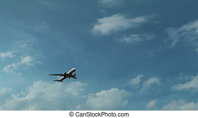 Boeing 787 airliner climbing against beautiful sunny cloudy sky, no logo, 4K clip