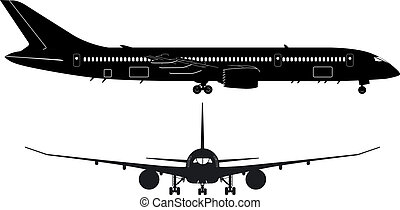 Passenger Boeing-787 Dream Liner detailed silhouette. Available EPS-8 vector format separated by groups and layers for easy edit