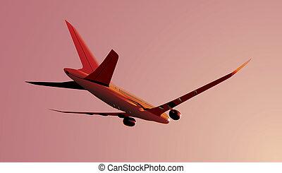 Boeing-787 Dreamliner at sunrise. Available EPS-8 vector...
