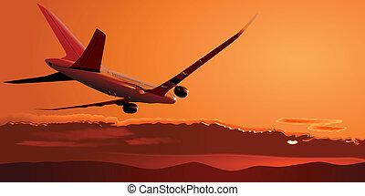 Boeing-787 landing at sunset