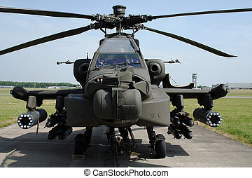 LIEGE-BIERSET, BELGIUM - MAY 13: Dutch Army AH-64D Apache on display. Bierset Heli-meet May 13, 2007 in Liege-Bierset, Belgium