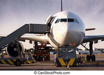 Boeing being loaded with cargo