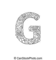 boek, alfabet, lettertype, g, kleuren, brief, decoratief