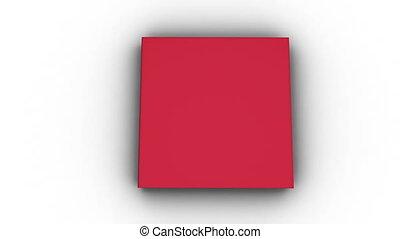 boek, animatie, l, rood, opening