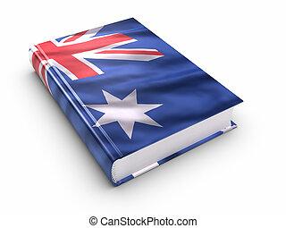 boek, bedekt, met, australische vlag