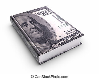 boek, bedekt, met, honderd, ons, dollar.