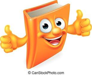 boek, beduimelt omhoog, spotprent