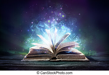 boek, bewitched, gloed, magisch