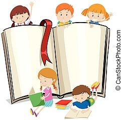 boek, boekjes , ontwerp, kinderen, lezende